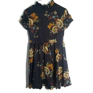 SHEIN Navy Floral Ruffle Fit & Flare Dress / S